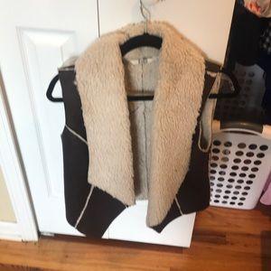 BB Dakota faux leather shearling vest
